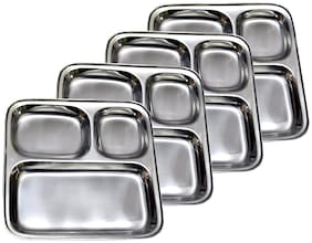 Set of 4 Stainless Steel Pav Bhaji / Snacks Plate