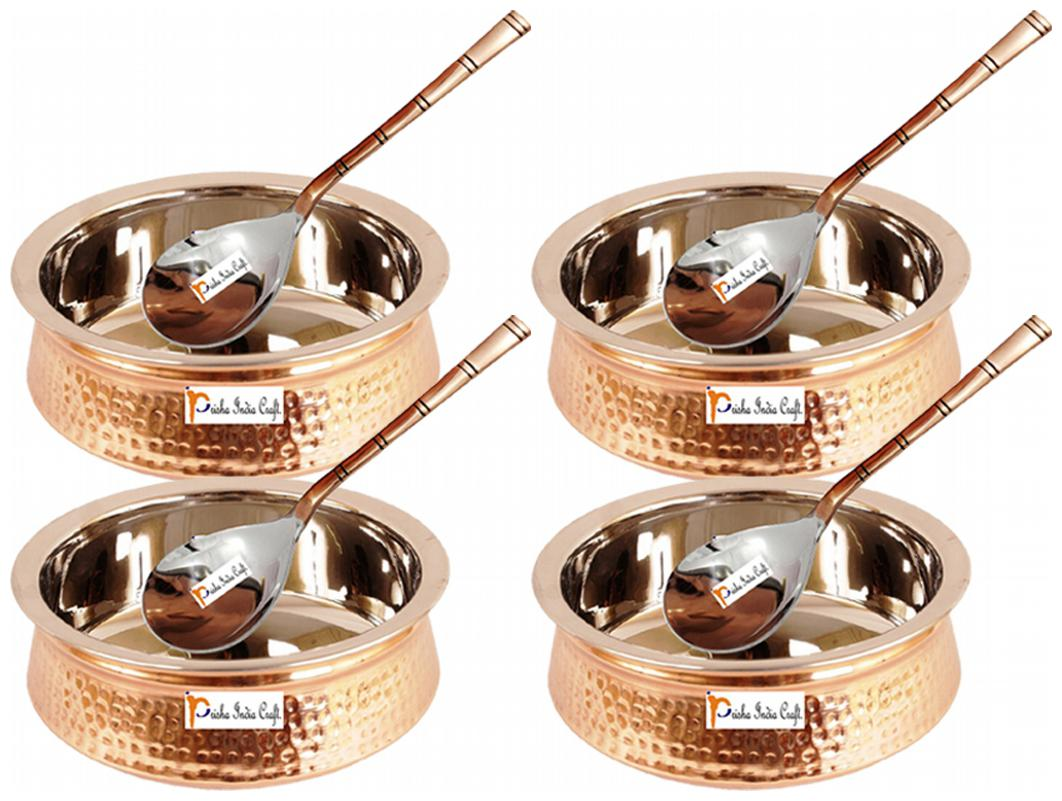 Prisha India Craft Steel Copper Casserole and Serving Spoon Set  Set of 4
