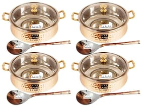 Prisha India Craft Steel Copper Casserole with Lid and Serving Spoon Set  Set of 4
