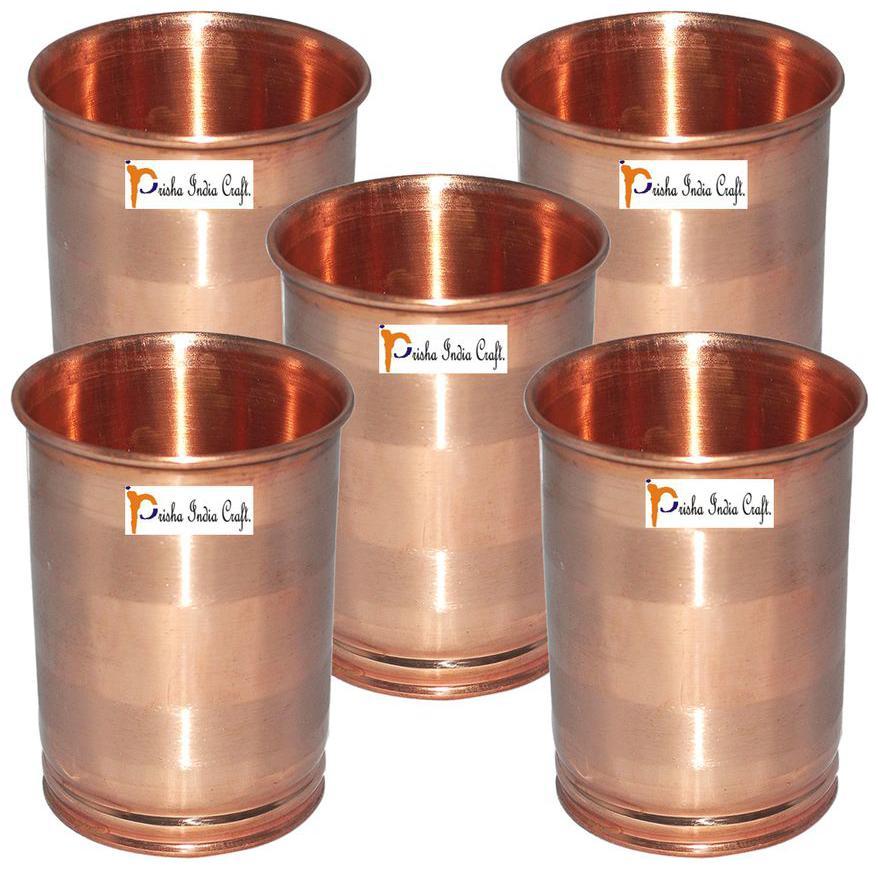 Set of 5   Prisha India Craft Drinking Copper Glass Tumbler Handmade Water Glasses by Prisha India Craft