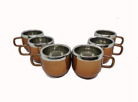 Set of 6 Copper Color Apple Cup