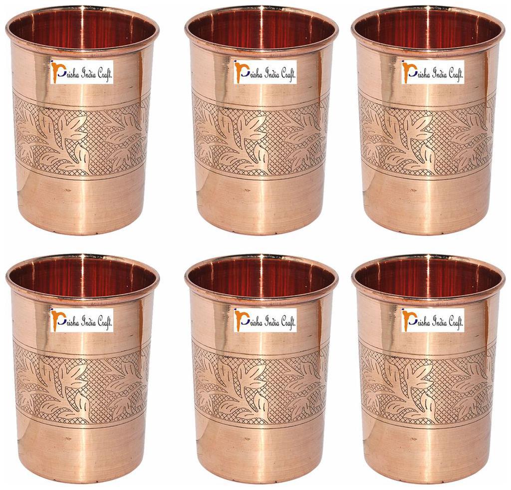 Prisha India Craft Copper Cup Water Tumbler Set of 6 by Prisha India Craft