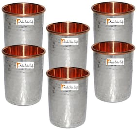 Set of 6 - Prisha India Craft  Handmade Water Glass Copper Tumbler