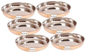 Set of 6 Prisha India Craft Steel copper Dessert plate - Dia 4.5 inch