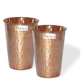 Prisha India Craft Handmade Water Glass Copper Tumbler  set of  2