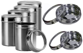 Dynore 500;750;1000;1250;1500 ml Silver Stainless steel Container Set - Set of 7