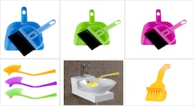 Set of Dust Pan & Toilet Sink Brush-Assorted Colors