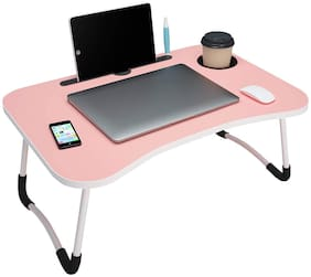 SETIST Foldable Laptop Table with Cup Holder,Charging Cable & IPad/Tablet Slot - Pink