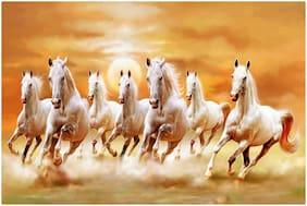 Fonax Seven Horses Poster for Vastu Horses Poster (12x18 inch Paper Print, With Gum Strip)