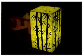Shady Ideas Bamboo Forest LED Table Lamp - Green - 5x5x8 inches