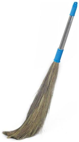 Shagun Eco Friendly Soft Grass Floor Broom Stick With Steel Handle For Floor Cleaning (Phool Jhadu / Mop) (Multicolour)
