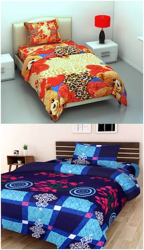 SHAKRIN Microfiber 3D Printed Single Size Bedsheet 160 TC ( 2 Bedsheet With 2 Pillow Covers , Multi )