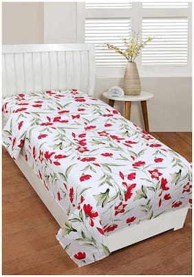 SHAKRIN Microfiber Floral Single Size Bedsheet 160 TC ( 1 Bedsheet With 1 Pillow Covers , White )
