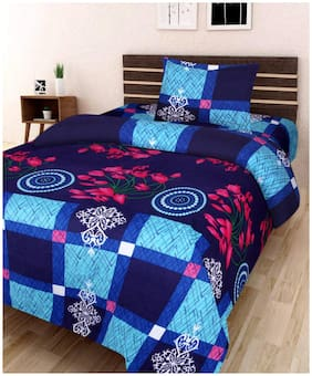 SHAKRIN Glace Cotton Single Bedsheet Cum Topsheet Without Pillow Cover Color-Blue-Black