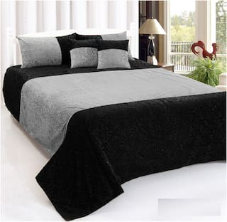 SHAKRIN Velvet Abstract King Size Bedsheet 160 TC ( 1 Bedsheet With 2 Pillow Covers , Black )