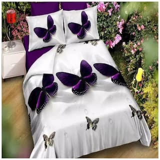 SHAKRIN Microfiber 3D Printed Double Size Bedsheet 160 TC ( 1 Bedsheet With 2 Pillow Covers , White )
