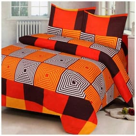 SHAKRIN Microfiber 3D Printed Double Size Bedsheet 160 TC ( 1 Bedsheet With 2 Pillow Covers , Orange )