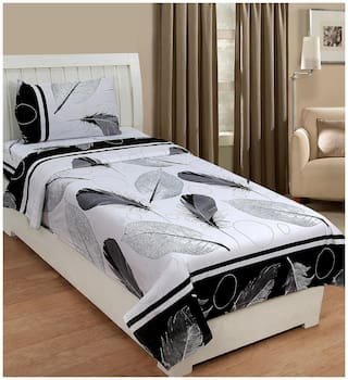 SHAKRIN Microfiber Abstract Single Size Bedsheet 220 TC ( 1 Bedsheet With 1 Pillow Covers , Grey )