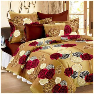 SHAKRIN Microfiber 3D Printed Double Size Bedsheet 160 TC ( 1 Bedsheet With 2 Pillow Covers , Golden )