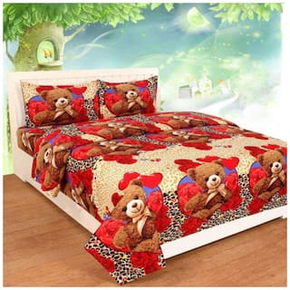 SHAKRIN Microfiber 3D Printed Double Size Bedsheet 160 TC ( 1 Bedsheet With 2 Pillow Covers , Red )