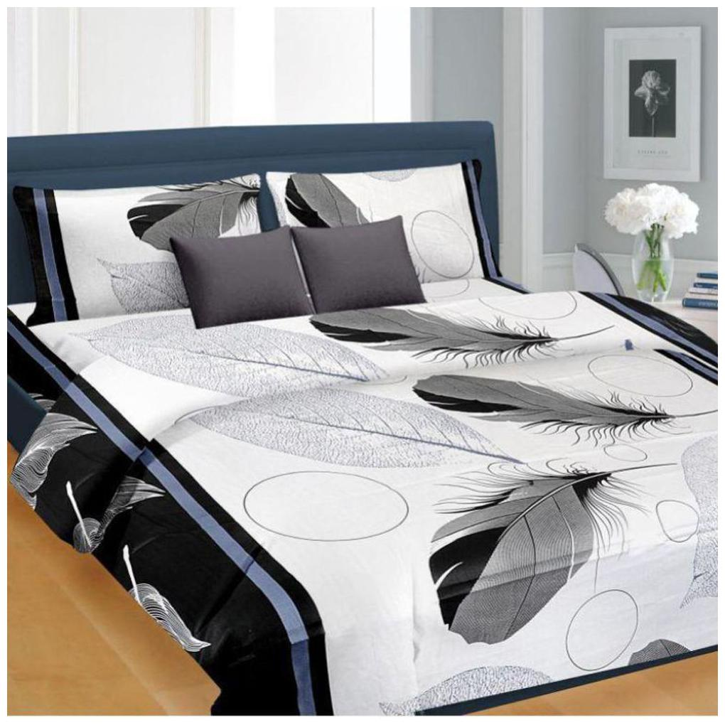 SHAKRIN Poly Cotton Double Bed sheet with 2 Pillow Covers