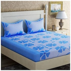 SHAKRIN Microfiber 3D Printed Double Size Bedsheet 160 TC ( 1 Bedsheet With 2 Pillow Covers , Blue )