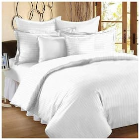 SHAKRIN Satin Striped King Size Bedsheet 220 TC ( 1 Bedsheet With 2 Pillow Covers , White )