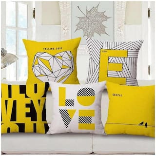 SHAKRIN 3d printed Jute Yellow Cushion Cover ( Regular , Pack of 5 )