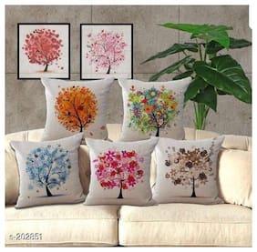 SHAKRIN Set of 5 Jute Cushion Covers 40X40 cm (16X16)