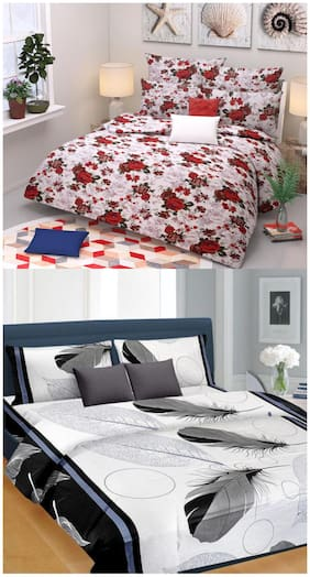 SHAKRIN Microfiber 3D Printed Double Size Bedsheet 160 TC ( 2 Bedsheet With 4 Pillow Covers , Multi )