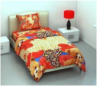SHAKRIN Microfiber 3D Printed Single Size Bedsheet 220 TC ( 1 Bedsheet With 1 Pillow Covers , Golden )