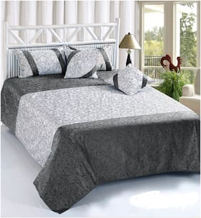SHAKRIN Velvet Abstract King Size Bedsheet 200 TC ( 1 Bedsheet With 2 Pillow Covers , Grey )
