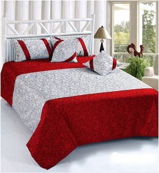 SHAKRIN Velvet 3D Printed King Size Bedsheet 200 TC ( 1 Bedsheet With 2 Pillow Covers , Maroon )