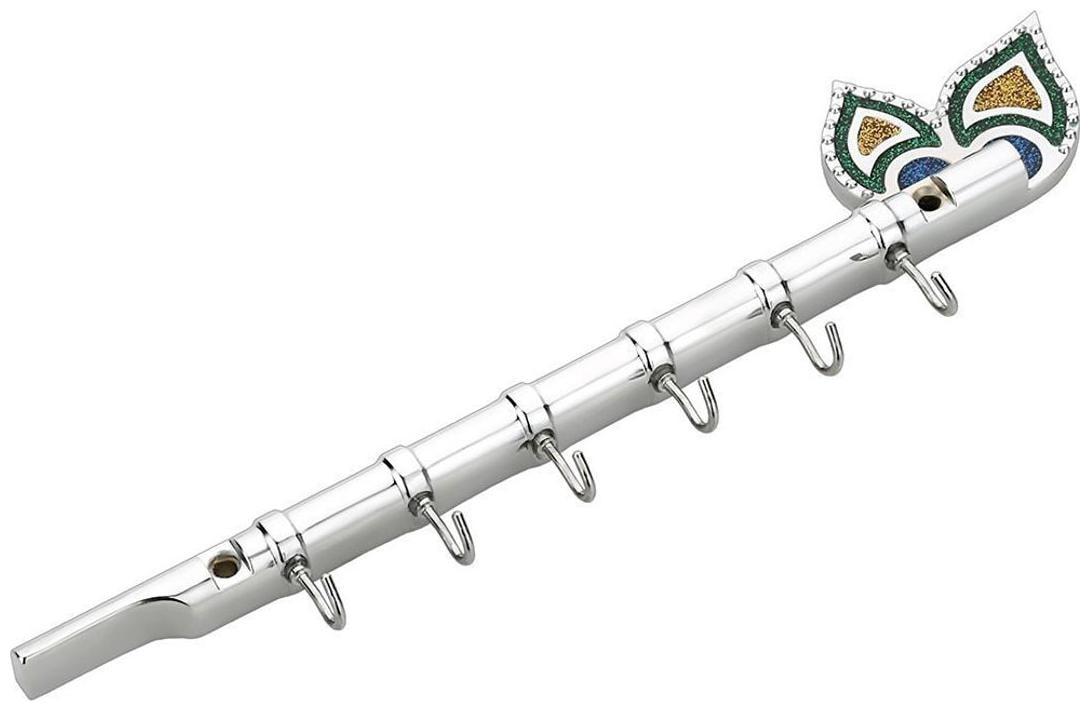 Shaks Silver Flute 6 pin For Keys Hanger Hook , Wall Key Holder , Key Stand , Keys Rack Hook, Key Hanging Hooks   Pack 0f 1