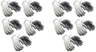 Shakuntla Nylon Safety Hand Gloves (White) -Pack of 10 Pairs