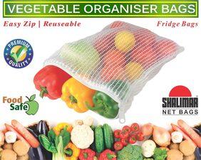 Shalimar Reusable Vegetable Organizer Bags/Fridge Bags/Net Bags (2 Bags of each size 20.5 cms x 25.5 cms / 23.0 cms x 30.5 cms / 25.5 cms x 35.5 cms) (Pack of 6 B