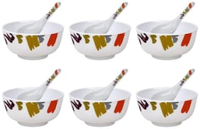 Shalom Melamine Bowl Set  (White, Pack of 12)