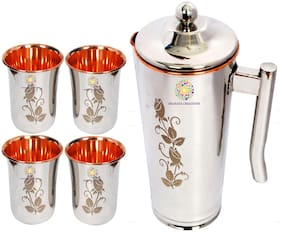 Shanaya Creations Jug with 4 Glasses Copper Jugs 1500 ml