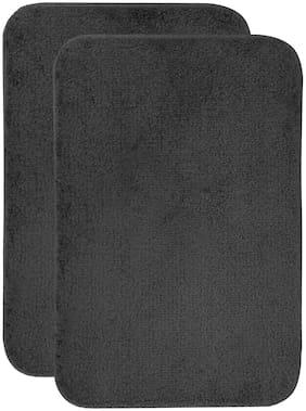 Shantam Cotton Bath Mat Dark Grey Set of 2 (60 x 40 CM)