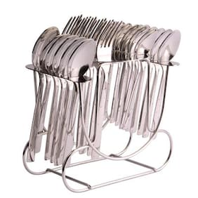 Shapes White Dot 24 Pcs. Cutlery Set With R.stand (BS)