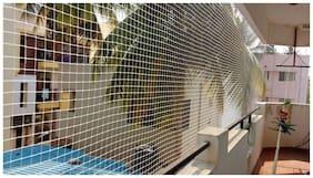 sharabani Anti Bird net,Pigeon,Monkey Protection net,Window net,Agro net,roof net,bulding Protection net,Terrace Garden Climbing Plant Support Net,Balcony net(12 ft x8 ft) White Color