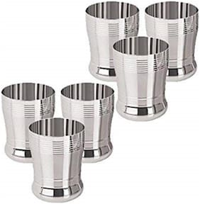 Sharda Metals Set of 6 Stainless Steel Water Juice Glasses Set Dinning Table Accessories