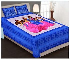 SHRIHANS Cotton Rajasthani Jaipuri Print Double Size Bedsheet 144 TC ( 1 Bedsheet With 2 Pillow Covers , Multi )