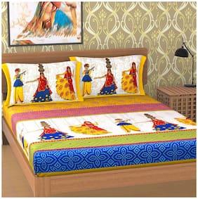 SHRIHANS Cotton Rajasthani Jaipuri Print Double Size Bedsheet 160 TC ( 1 Bedsheet With 2 Pillow Covers , Multi )