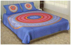 SHRIHANS Cotton Rajasthani Jaipuri Print Double Size Bedsheet 160 TC ( 2 Bedsheet With 2 Pillow Covers , Multi )