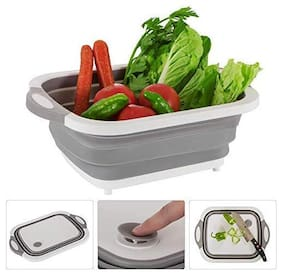 Shemok Plastic, Silicone Chopping Board cum Drainer Basket  (White, Grey Pack of 1)