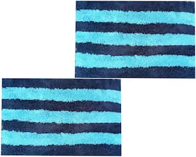 SHF Door Mats 100% Cotton for Entrance Welcome, Bathroom Mats for Home and Office, Set of 2 Piece 40x60 cm Light Blue Multi