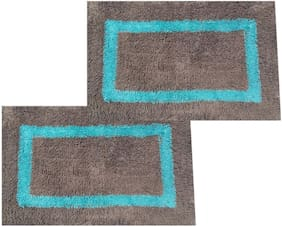 SHF Door Mats 100% Cotton for Entrance Welcome, Bathroom Mats for Home and Office, Set of 2 Piece 40x60 cm Grey