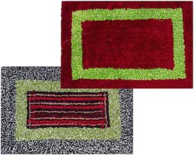 SHF Door Mats 100% Cotton for Entrance Welcome, Bathroom Mats for Home and Office, Set of 2 Piece 40x60 cm
