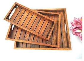 Shilpi Handicraft  Wooden Serving Tray (Brown) - Set of 3